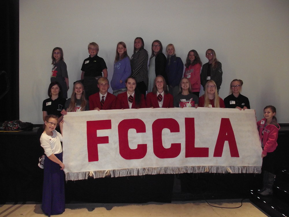 WDC Chapter photo taken at the conference, 1st row:  Maddie Beverluis and Bethany Collins. 2nd row: Angela LeComte, Emma Mehl, Elliot Doyle, Caitlin Savage, Frannie Bakken, Maggie Carlson, Morgan Grangruth, and Paige Barthel. 3rd row:  Megan Hamelau, Jaxson Brown, Mari Pulver, Teira Roggenkamp, Madyx Shreves, Lola Pulver, Brenna Leeseberg, and Zoie Anderson. Photo by Cindi Koll.