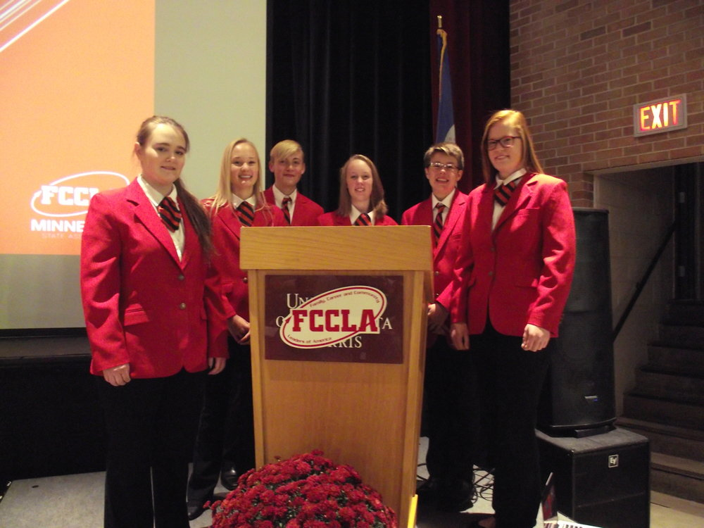 Officers at the conference included, Caitlin Savage, Kallie Kremer, Wheaton FCCLA; Elliot Doyle, Frannie Bakken, James Drewicke, Herman-Norcross FCCLA; and Kerryn Lund, Brandon-Evansville FCCLA. Photo by Cindi Koll.