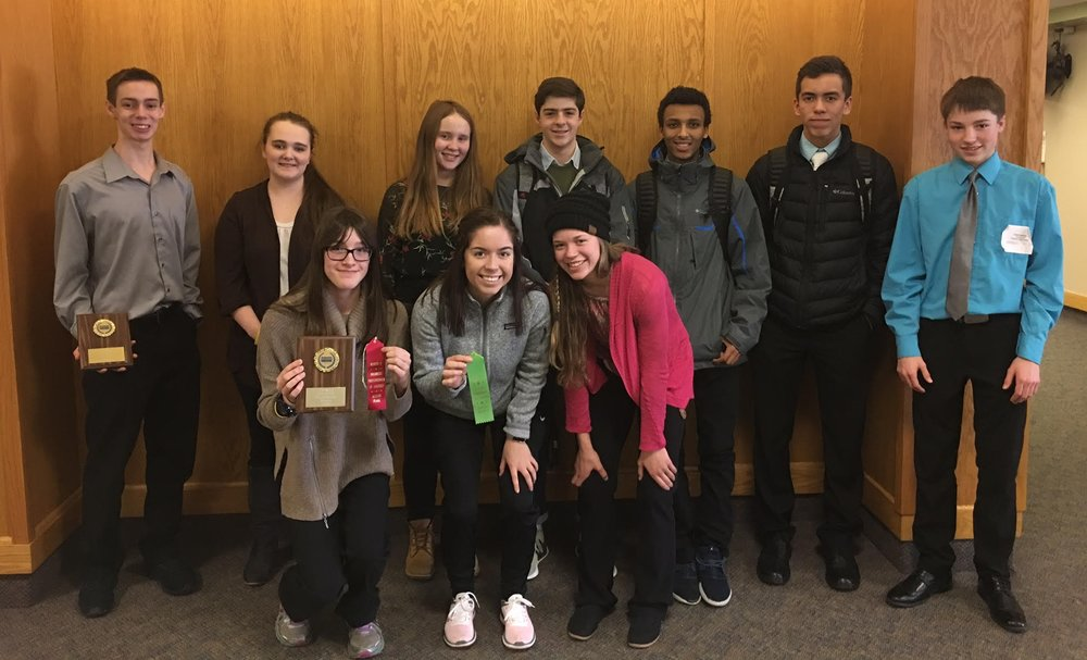 Pictured, front from left: Leah Spilman, Grace Hinojos and Bel Snyder; back from left: Alex Gould, Caitlin Savage, Nele Sprunk, Jeronimo Vallarta, Bereket Loer, Lucas Hinojos and Cole Pearson.