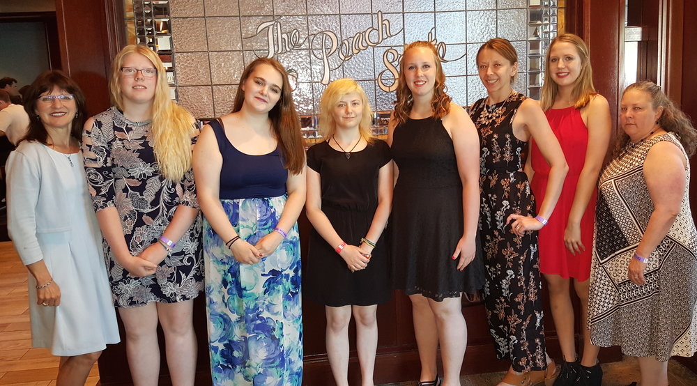 FCCLA members of Wadena-Deer Creek's chapter who attended the National Leadership Conference, included, from left: Cindi Koll, advisor; Morgan Grangruth, Caitlin Savage, Angela LeComte, Frannie Bakken, Amanda Wensmann (Chapter parent), Maggie Carlson, and LaDonna Norenberg, advisor. Courtesy photo.