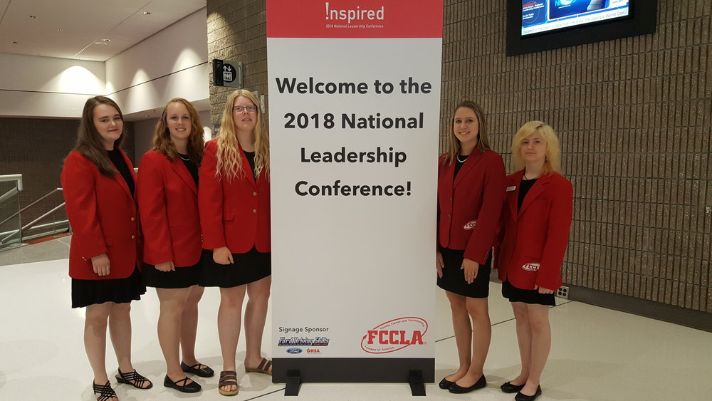 Wearing their classy red FCCLA jackets, from left: Caitlin Savage, Frannie Bakken, Morgan Grangruth, Maggie Carlson, and Angela LeComte. Courtesy photo.