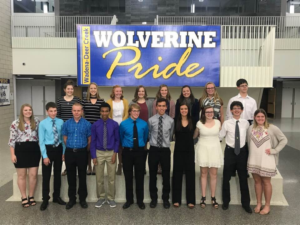 New inductees in WDC's NHS chapter, front row, from left, are juniors Kamea Shreves, Cole Pearson, Zachary Meeks, Bereket Loer, Lleyten Pettit, Lucas Hinojos, Kennedy Gravelle, Jasmyn Wood, Michael Schmidt and Laura Krause; back, from left: Mari Grendahl, Maggie Carlson, Courtny Warren, Hailey Wiederich, MacKenzie Carsten, Lexi Pierce, Paige Barthel and Sean Carlson.