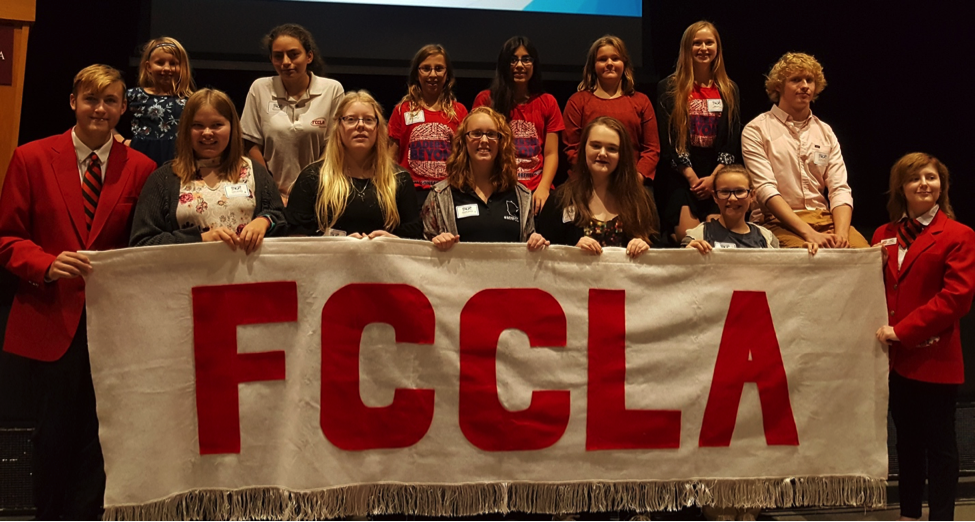 WDC FCCLA chapter members attending a leadership conference recently in Morris, front, from left: Elliot Doyle, Casey Bounds, Morgan Grangruth, Frannie Bakken, Caitlin Savage, Madyson Beversluis, and Angela LeComte. Back, from left: Phoenix Gray, Mikayla Varela, Megan Hamelau, Jenny Varela, Gracie Arm, Emma Mehl, and Caleb Cully. Photo by Cindi Koll, FCCLA Advisor.