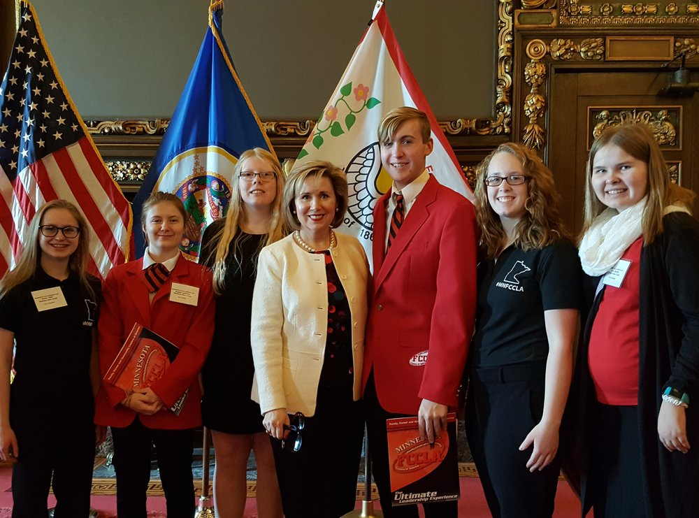 Wadena-Deer Creek's FCCLA members were fortunate to get to meet Gwen Walz, Minnesota's First Lady. in St. Paul. Pictured, from left: Emma Mehl, Angela LeComte, Morgan Grangruth, First Lady Gwen Walz, Elliot Doyle, Frannie Bakken, & Casey Bounds. Photos by Cindi Koll, FCCLA Advisor.