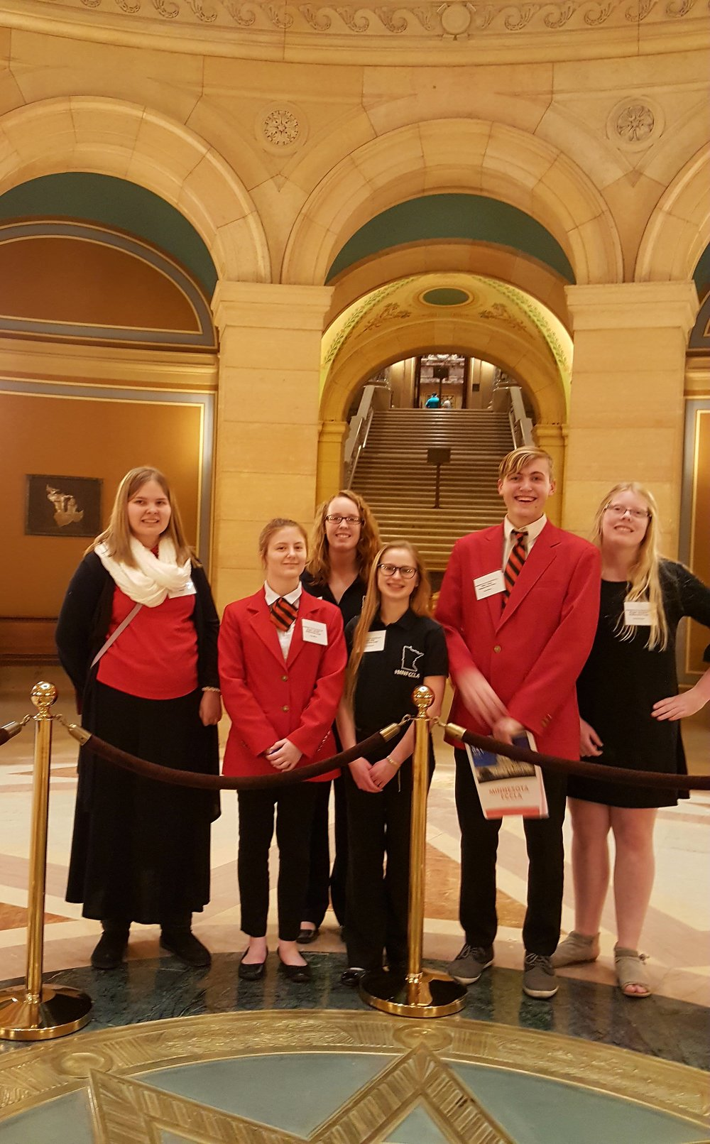 WDC FCCLA members enjoyed a fantastic day shadowing legislators at the capitol. Pictured, from left: Casey Bounds, Angela LeComte, Frannie Bakken, Emma Mehl, Elliot Doyle, Morgan Grangruth.