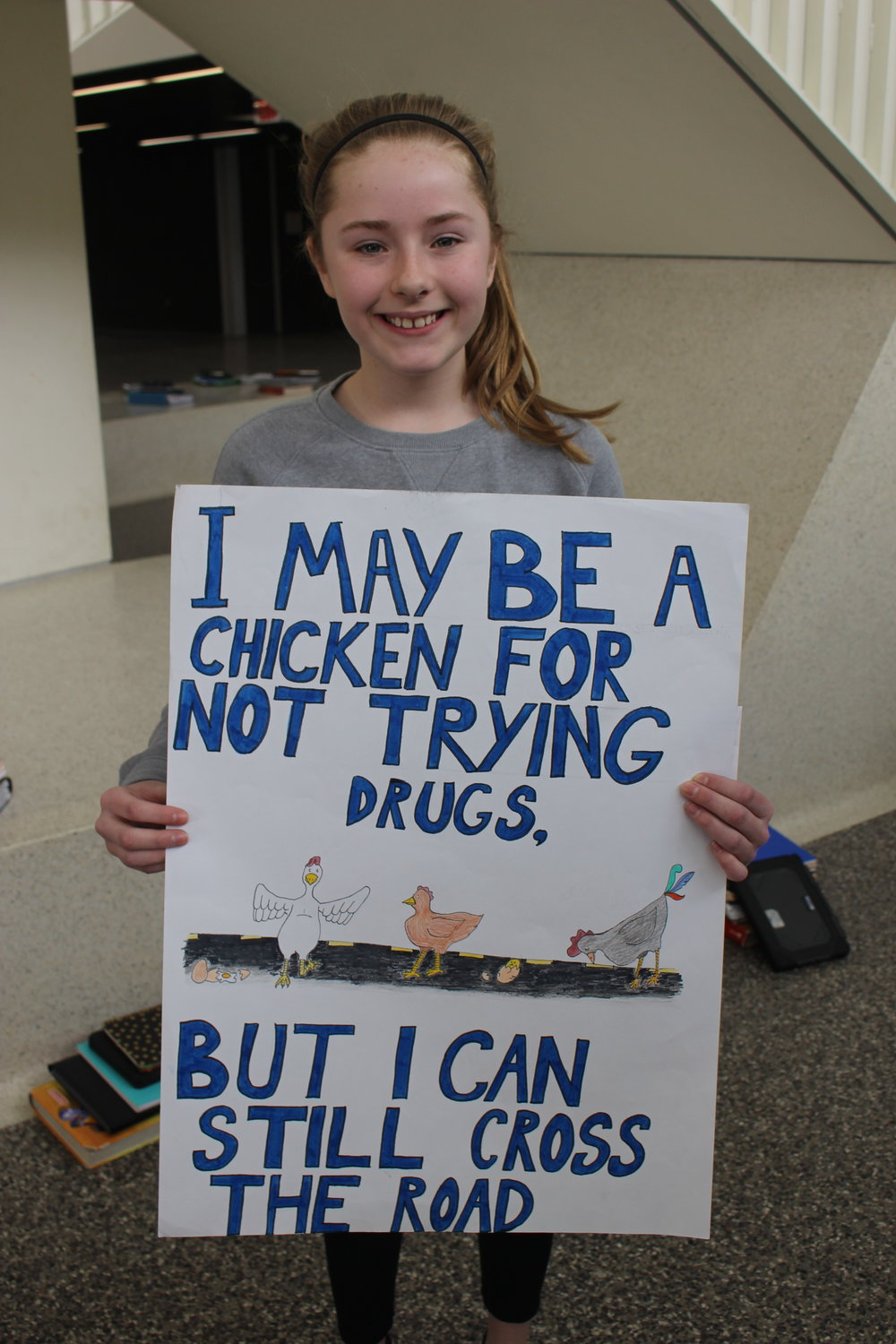 Jordin VanOurkerk won first place at the local level and second place at the district convention for her anti-drug poster for the annual Lions Poster Contest.
