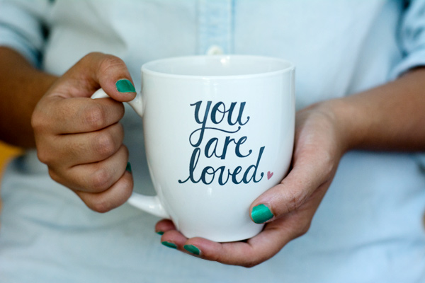"""""""You Are Loved"""" mug from Pink Olive"""
