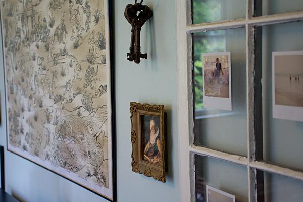 polaroids on vintage window pane