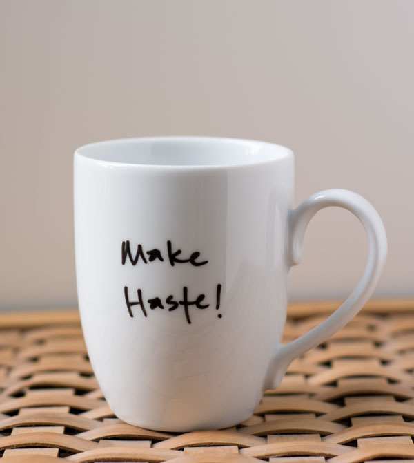Make Haste! Pride and Prejudice coffee mug via Brookish