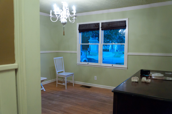 Our Dining room had lime green walls and a green ceiling when we moved in