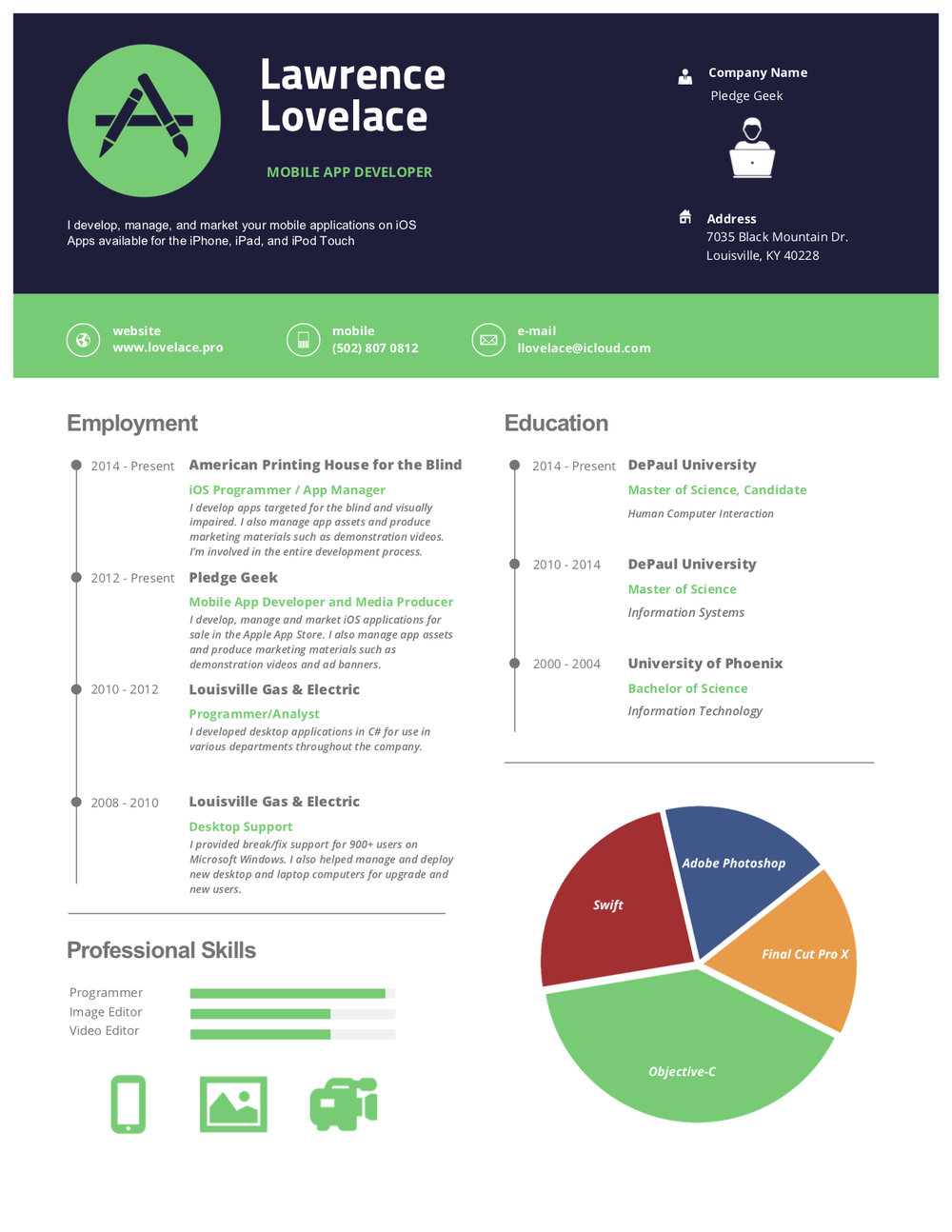 Graphic Resume - Take a look at my skills. Click on the resume to download