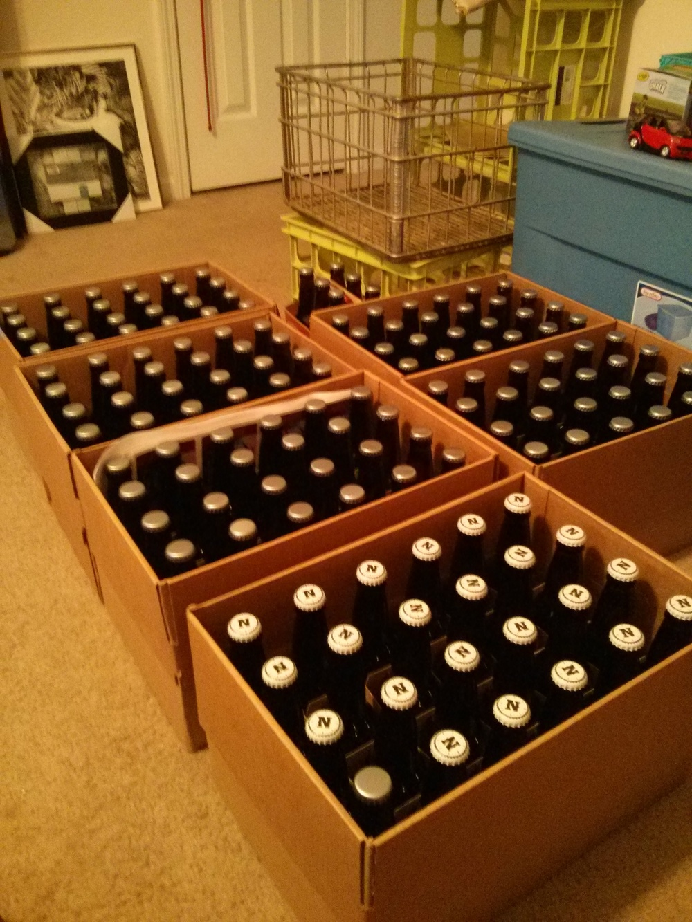 What 150 12oz. bottles of beer looks like.