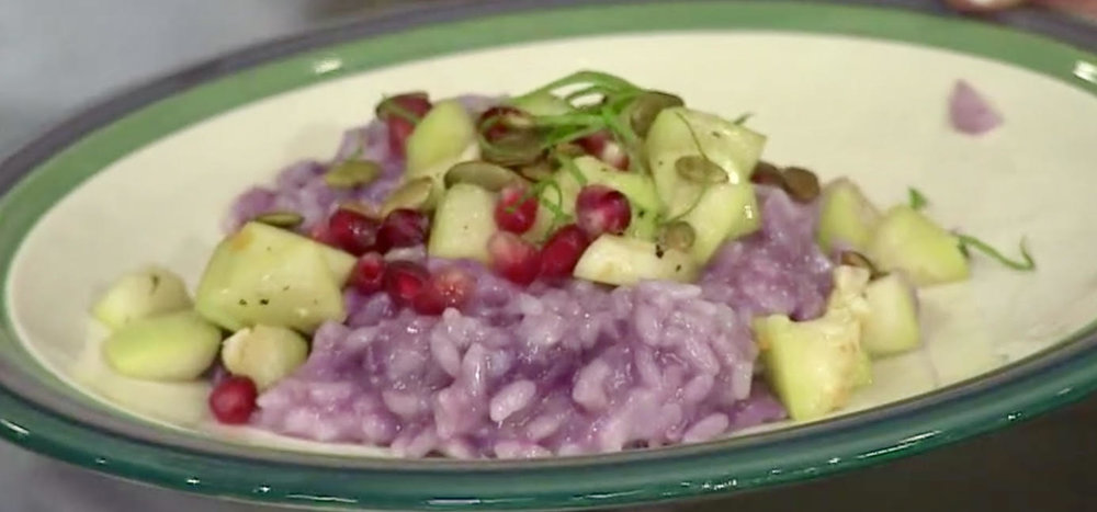 Blanche with Purple Spring Risotto - Purple Sweet Potatoes, Pomegranate Seeds, Opo Squash, Toasted Pepitas & Mint