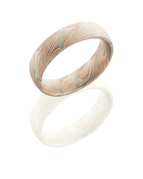 Domed Solid 14KR, 14KW, and Sterling Silver Mokume