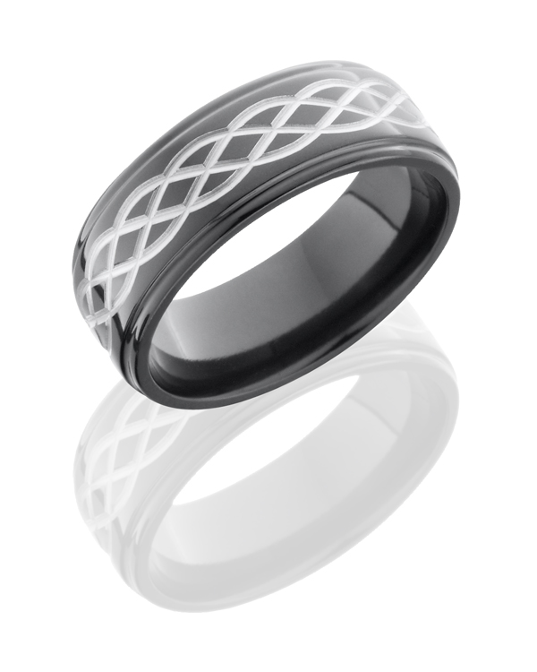 Black Zirconium with Silver Celtic Pattern