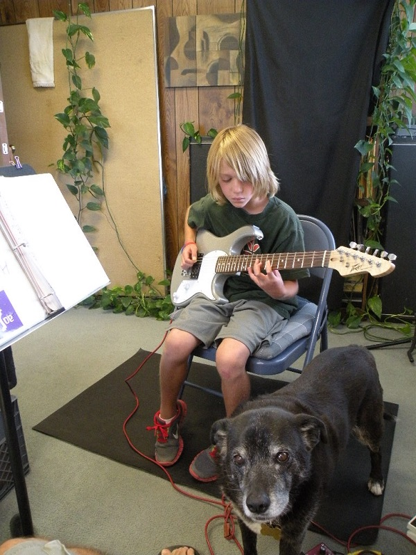 jamming at guitar lesson