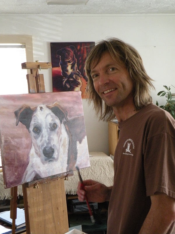 Artist Bill Sickles in studio