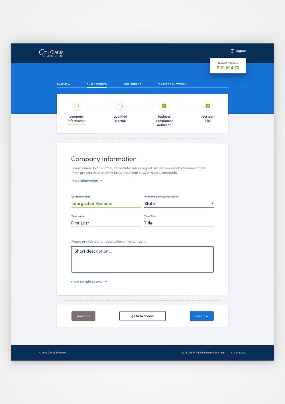 Digital visual design on an R&D Tax Credit Tool