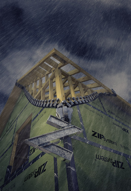 The zipper blowing in the wind is the latest CGI photo for the Huber Engineered Woods advertising campaign. Peter Godshall, the Sean Busher Imagery team's 3D artist and CGI producer, created this image in the matter of 2-3 days utilizing CGI software Cinema 4D.  The rain and clouds were created via Photoshop.  We think it all came together nicely!