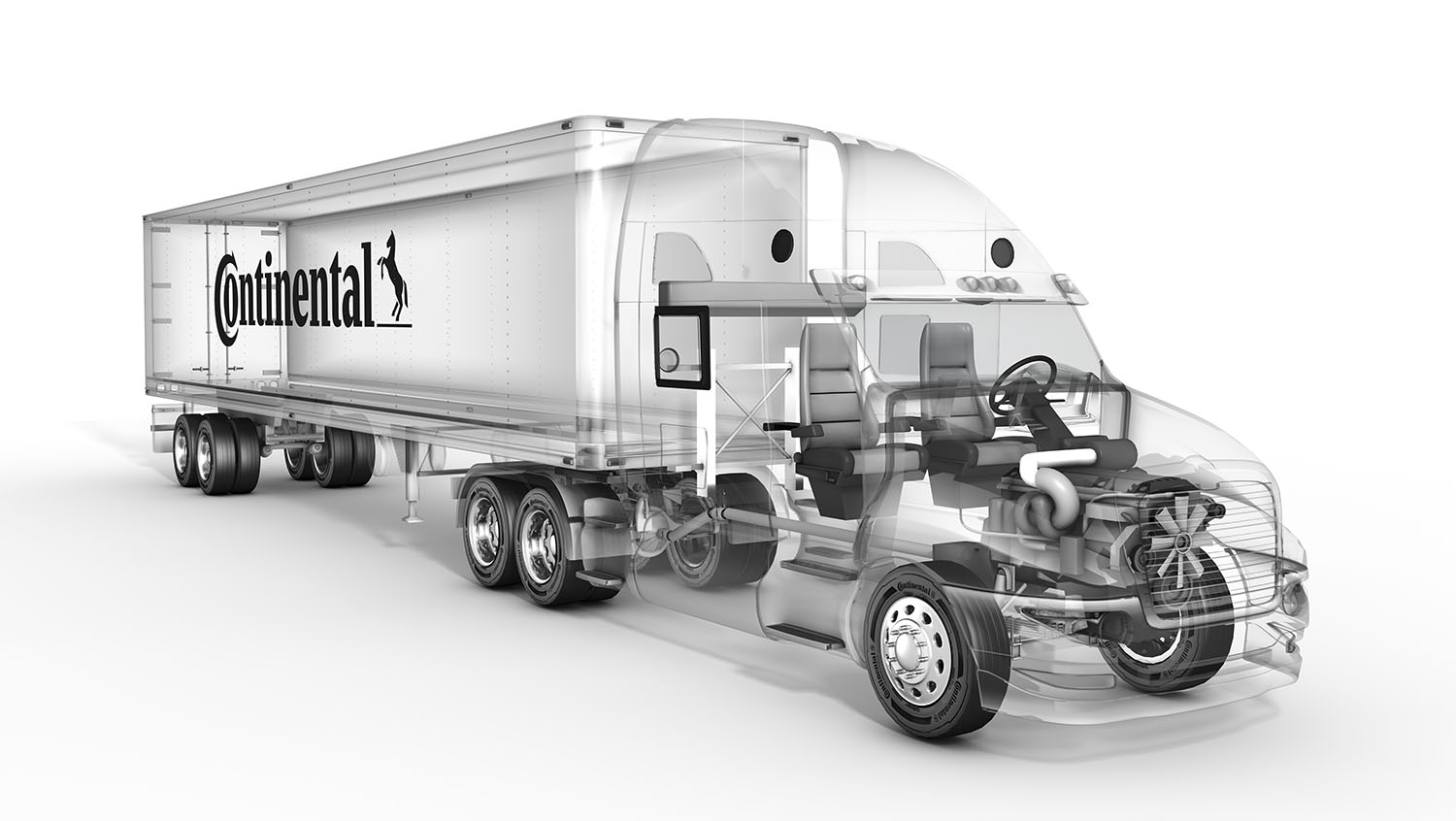 CGI imagery of see-through truck for Continental Tire.