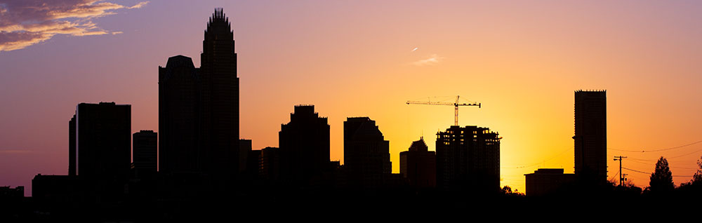 A silhouette of Charlotte's growing skyline.
