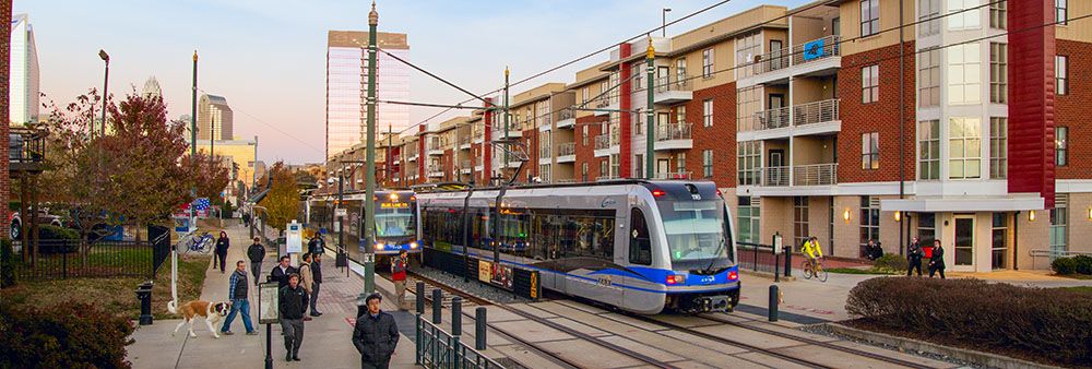 A light rail stop in South End.