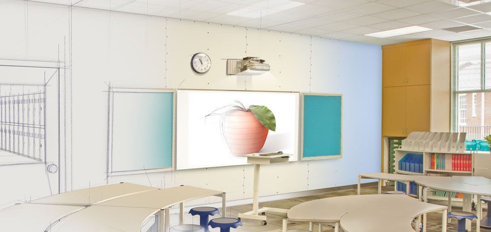 The classroom shown here shows us taking a stock photo and altering it to look like an architectural drawing.
