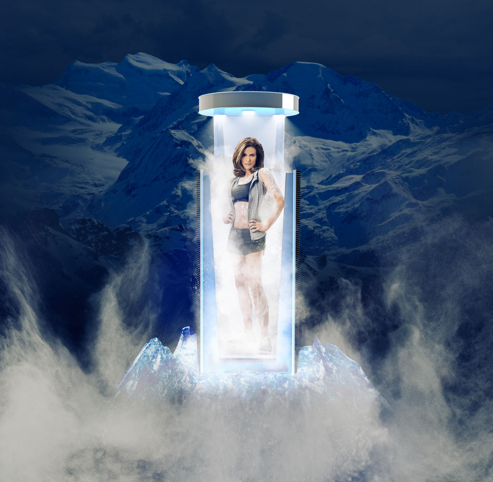 Full body shot of someone in a cryotherapy chamber.