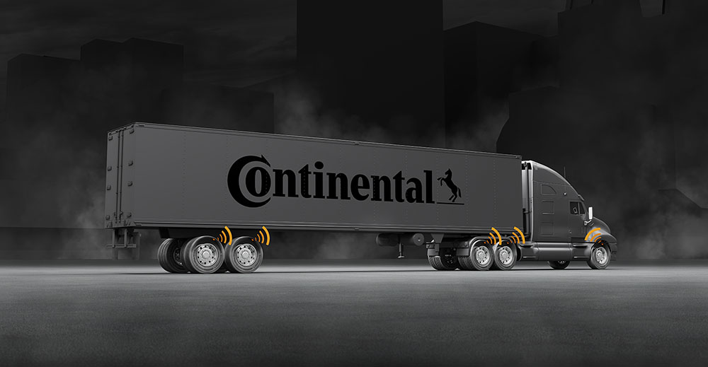 This shows a tractor trailer rig using Continental Tire's pressure sensor.