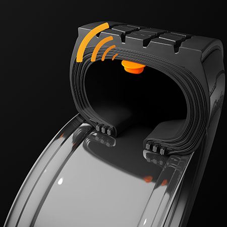 This 3D photo shows a closeup of the pressure sensor inside a tire.