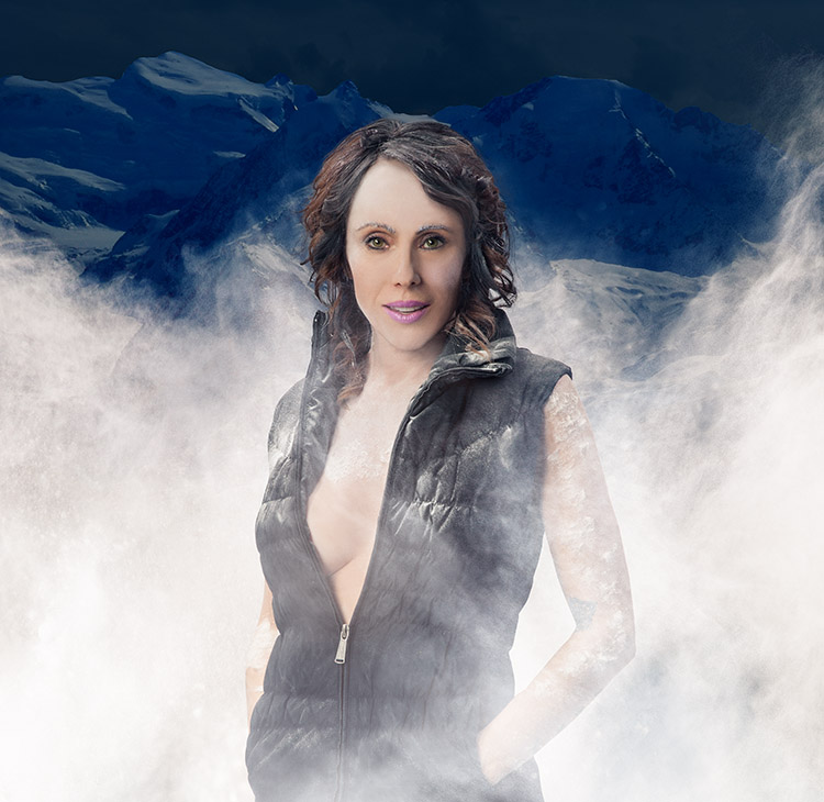 Portrait photography of woman experiencing cryotherapy.