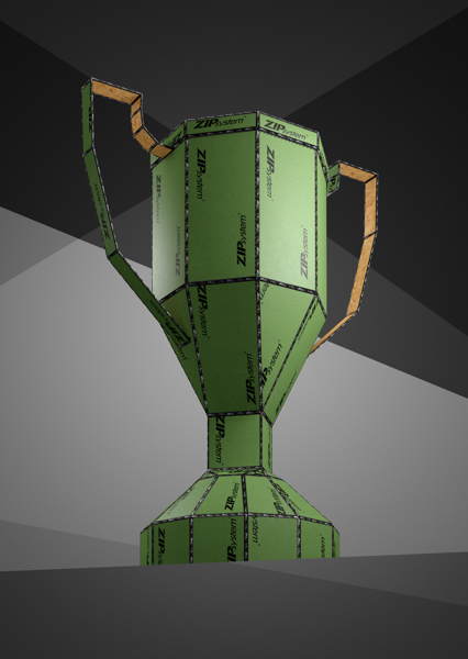 This CGI photo shows a trophy made out of Zip System products.