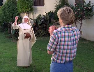 Sister Agnes needs a better throwing motion