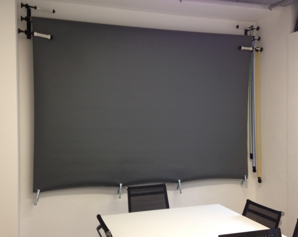 Pull down backdrop in meeting room A!