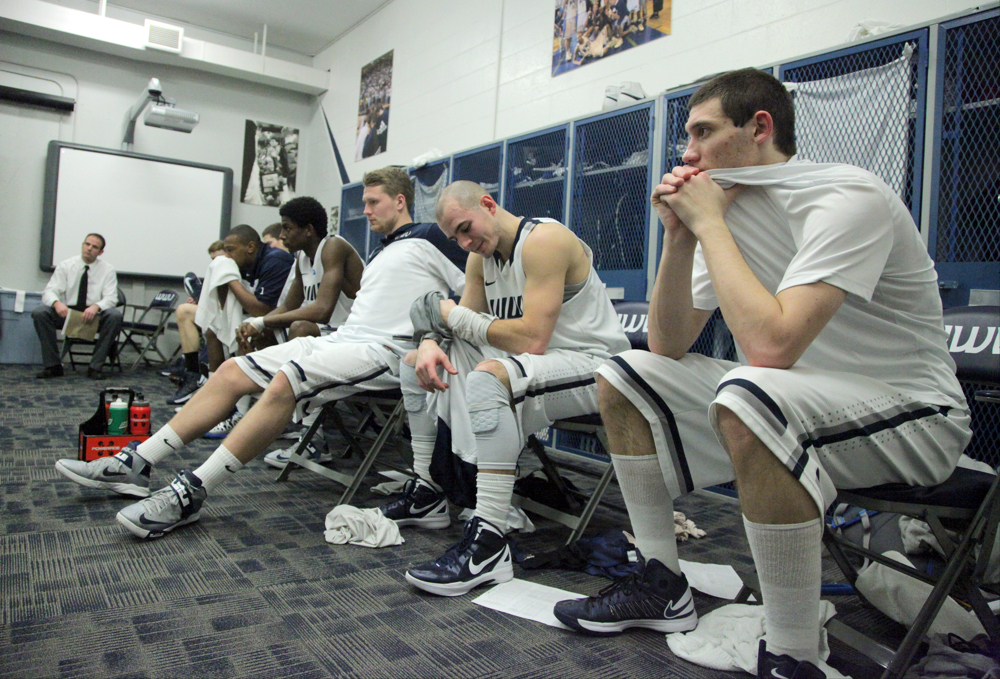 Western waits for their coaches to return to the team room with a game plan. Seattle Pacific led 29-18 at half time. Seattle Pacific lead 29-28 at half time. Western Washington University men's basketball team defeated Seattle Pacific University 62-58, Tuesday, Feb. 19, 2013, during the NCAA II West Regional final at WWU in Bellingham.