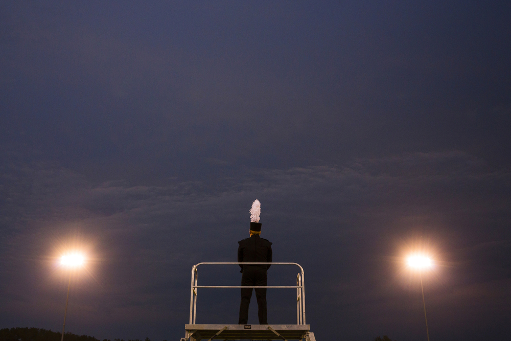 A Fairfield drum major quietly waits for a performance to begin at theConcord Marching Band Invitational on Saturday, Sept. 20, 2014, at Concord Community High School.