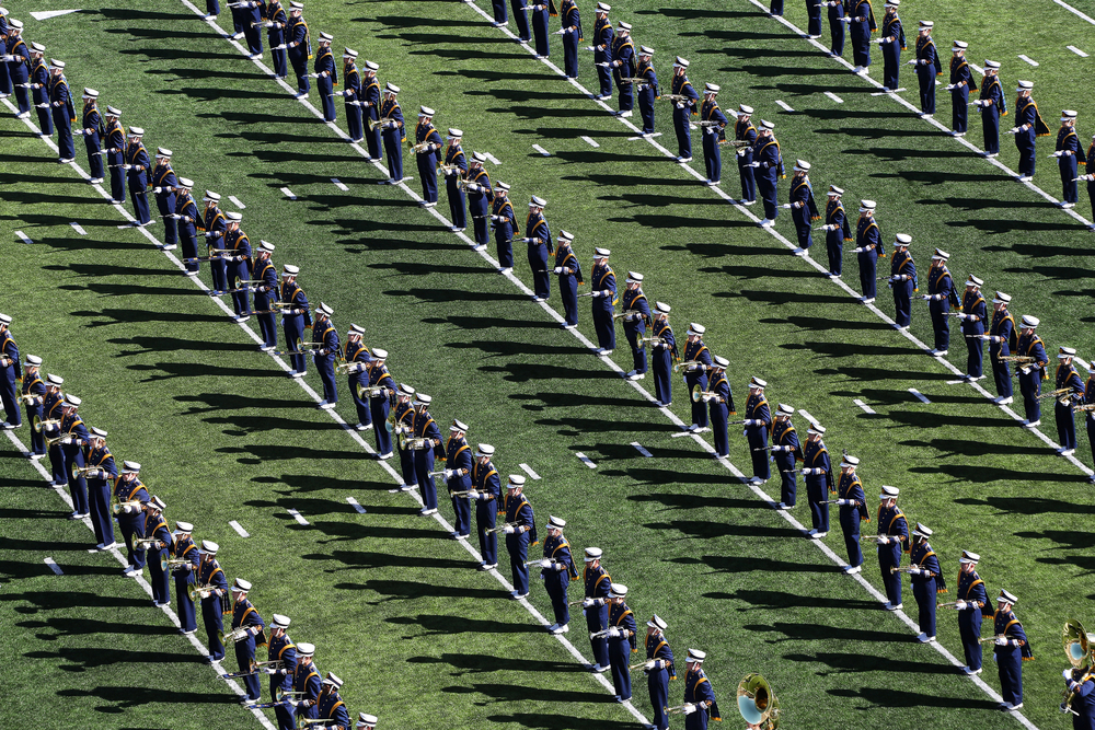 The Notre Dame marching band performs before the Fighting Irish takes on North Carolina on Saturday, Oct. 11, 2014, at Notre Dame Stadium in South Bend. The Fighting Irish beat the Tar Heels 50-43.