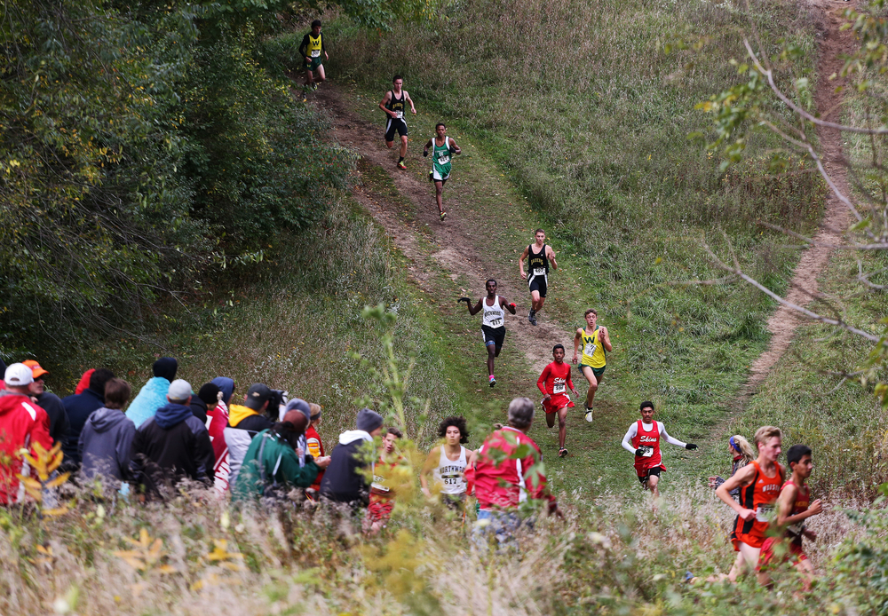 Northern Lakes Conference cross country runners race down a hill during a meet on Saturday, Oct. 4, 2014, at Ox Bow County Park in Elkhart.