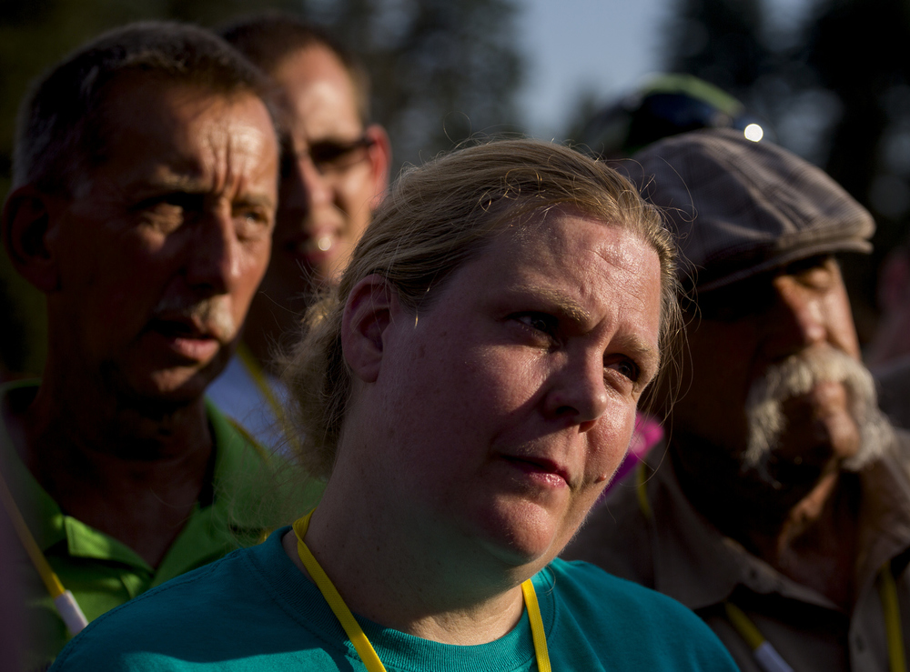 Volunteers and pilots listen during a preflight meeting at the Hot Air Jubilee on Friday, July 17, 2015, at Ella Sharp Park in Jackson, Michigan. The jubilee continues on Saturday and Sunday morning with a final early morning hot air balloon launch. (Nick Gonzales | Mlive.com)