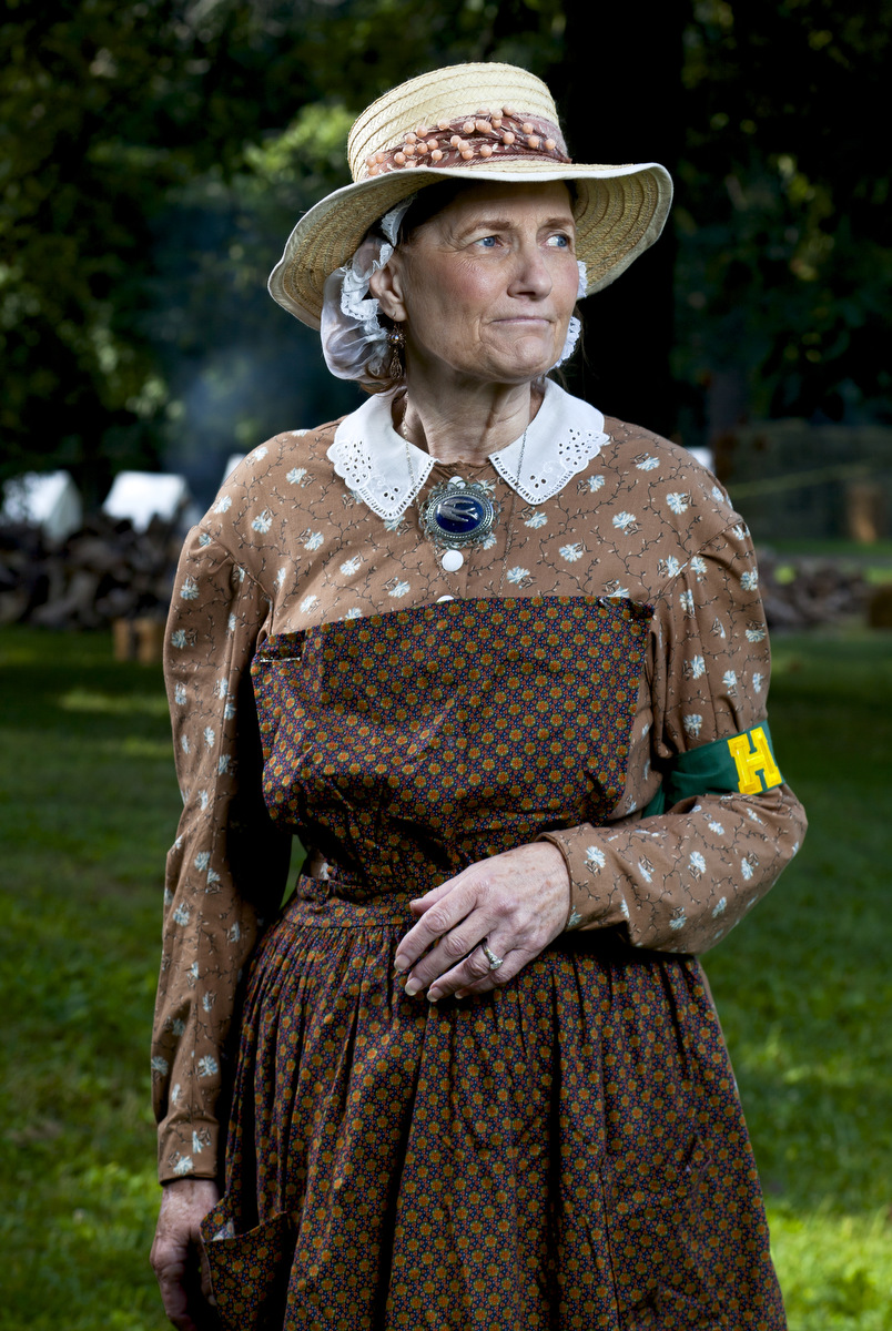 Grand Rapids reenactor of more than 25 years Marilyn Hughes at the Civil War Muster on Saturday, Aug. 22, 2015, at Cascade Falls Park in Jackson, Mich. Michigan's largest civil war re-enactment festival hosted more than 600 reenactors during the two-day event. (Nick Gonzales | Mlive.com)