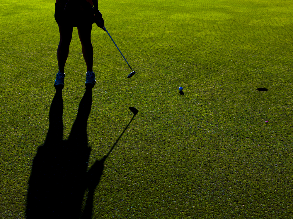 Jackson Northwest sophomore Anya Frever putts on the second hole during girls golf Interstate-8 Jamboree on Wednesday, Sept. 23, 2015, at Cascades Golf Course in Jackson, Mich. Lumen Christi, Jackson Northwest and Parma Western were three of the seven teams competing. (Nick Gonzales | Mlive.com)