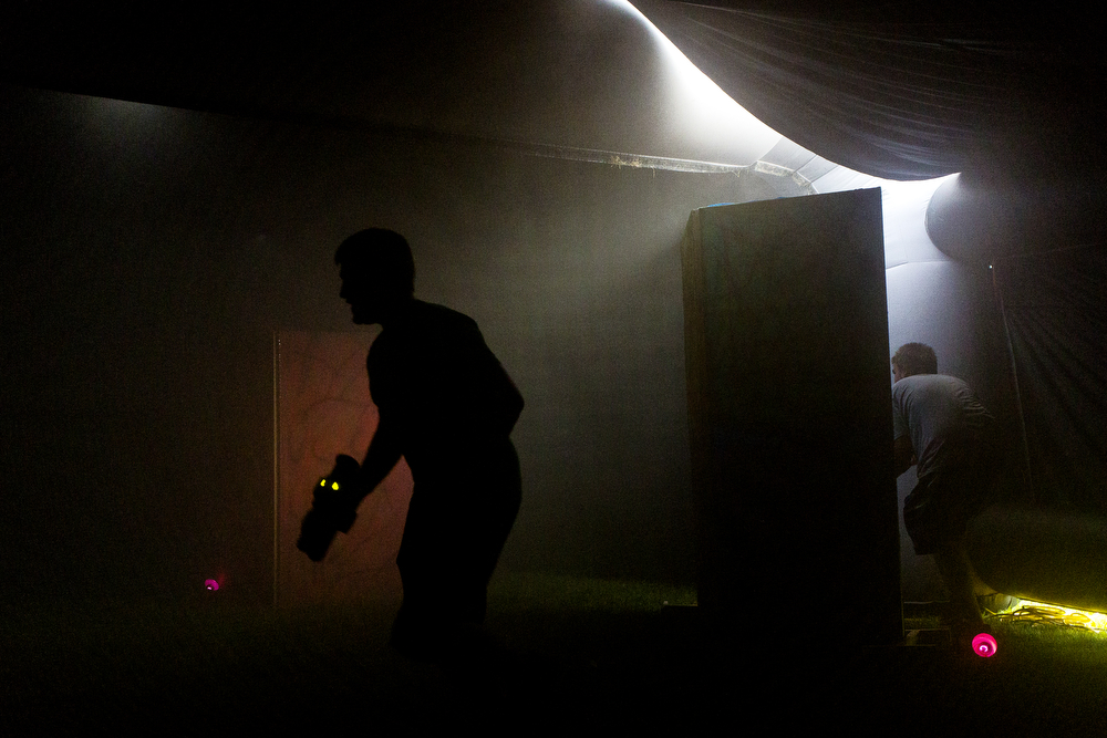 People play laser tag in the teen area at the Big Mitten Fair on Friday, Sept. 4, 2015, at Michigan International Speedway in Brooklyn, Mich. The fair continues through Monday, Sept. 7. (Nick Gonzales | Mlive.com)