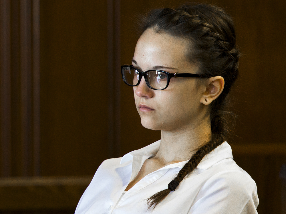 A tear rolls down 15-year-old Alexis Penn's face as she listens to testimony from her psychologist during her first-degree arson case sentencing in front of Jackson County Circuit Court Judge John McBain on Wednesday, Sept. 30, 2015. Penn was sentenced as an adult to 7-20 years. (Nick Gonzales   Mlive.com)