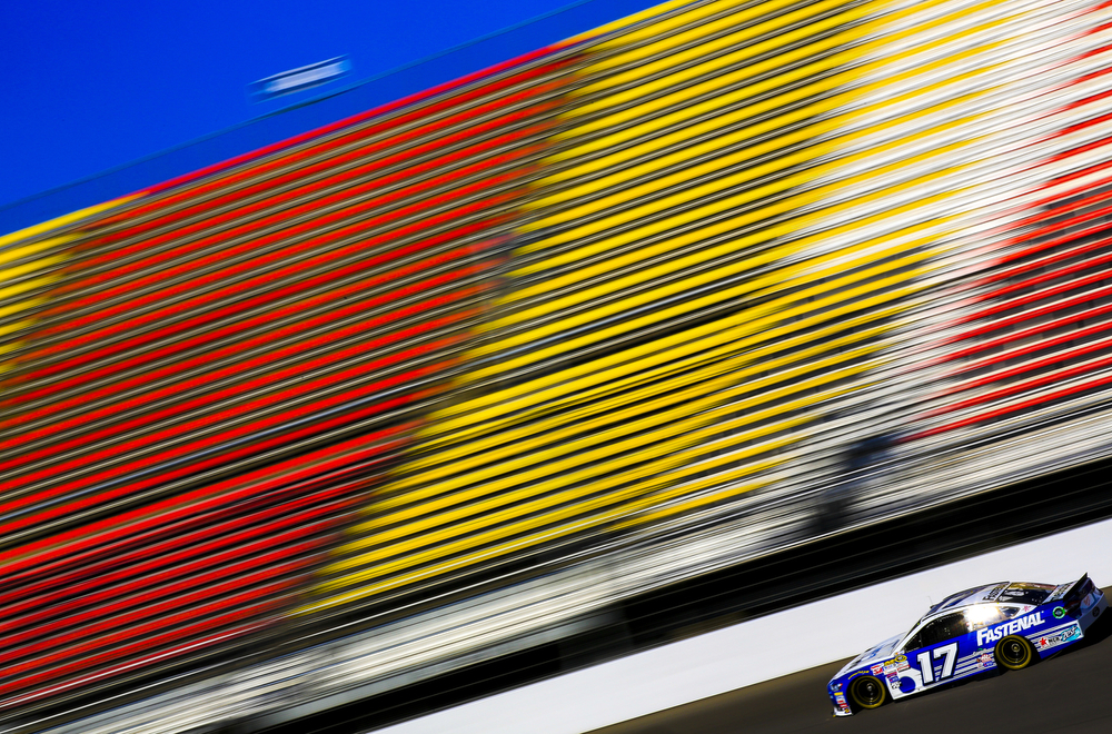 NASCAR driver Chris Buescher of Roush Fenway Racing tests out new downforce rules Tuesday, Oct. 20, 2015, at Michigan International Speedway in Brooklyn, Mich. (Nick Gonzales | Mlive.com)