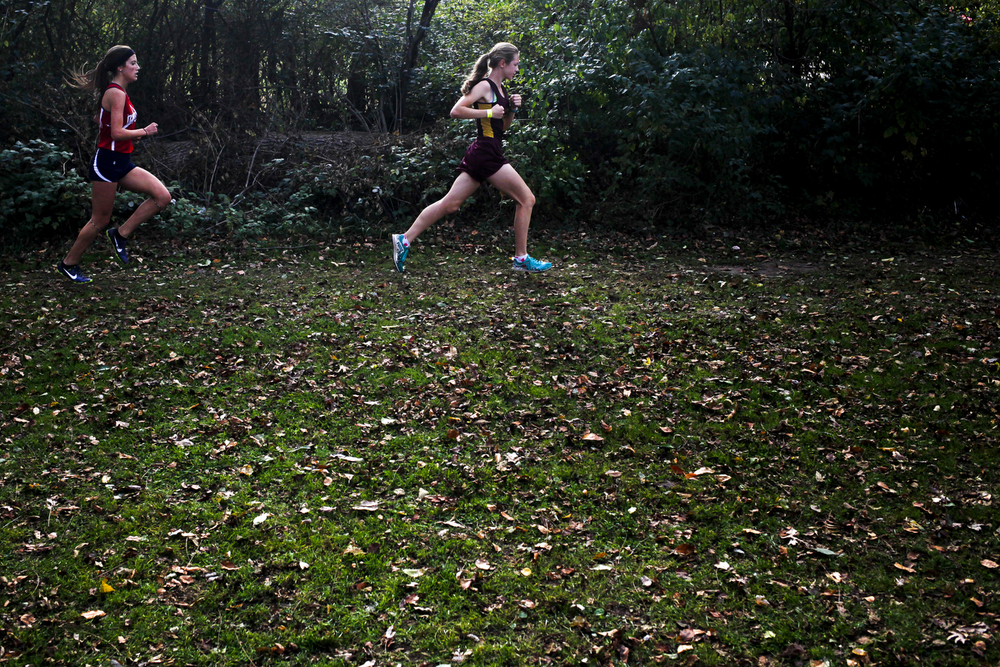 Manchester freshman Jocelyn Boote, right, and Hanover-Horton freshman Brecquel Kilgore compete in the Cascades Conference cross country meet Wednesday, Oct. 21, 2015, at Ella Sharp Park in Jackson, Mich. Hanover-Horton won both the boys and the girls meets. (Nick Gonzales | Mlive.com)