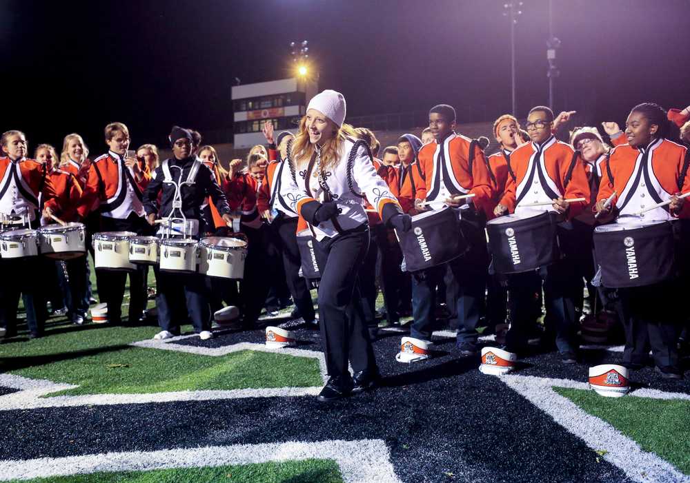 Viking Marching Band drum major dances as they face off with Livonia Churchill's marching band after the Division 2 first-round football playoffs Friday, Oct. 30, 2015, at Jackson High School. Jackson won 42-35. (Nick Gonzales | Mlive.com)
