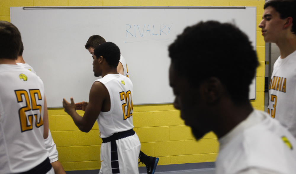 Columbia Central walks out of the locker room at halftime during a boys basketball game Monday, Dec. 14, 2015, at Columbia Central in Brooklyn, Mich. Napoleon beat Columbia Central 46-41 in double overtime. (Nick Gonzales | Mlive.com)