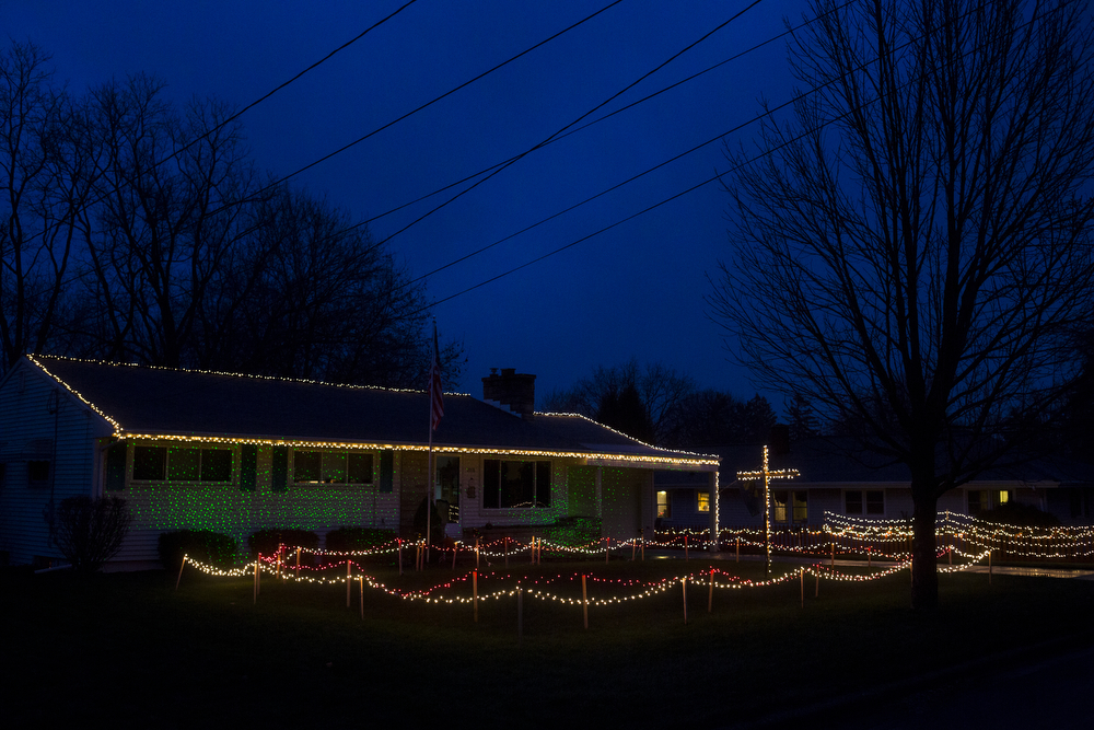 Christmas lights twinkle in the night Wednesday, Dec. 2, 2015, on Jeffrey Court in Jackson, Mich. (Nick Gonzales | Mlive.com)