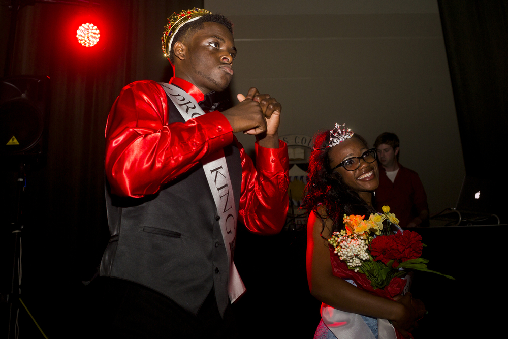 "Prom king Jabari Smith and prom queen Alex Lowe at the Grand Rapids City High School's prom Saturday, May 14, 2016, at Aquinas College in Grand Rapids, Mich. The theme was ""A Night in Venice."" (Nick Gonzales 