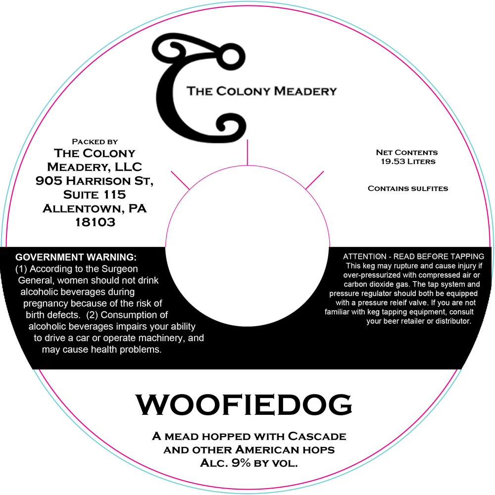 The Colony Meadery WOOFIEDOG hopped mead keg collar